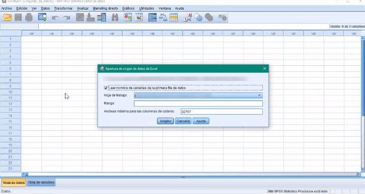 Excel a SPSS paso 3